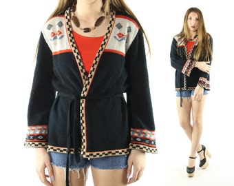 Vintage 70s Cardigan Sweater Black Knit Wrap Hippie Boho Festival Fashion 1970s  Large L Queens Way Jacket