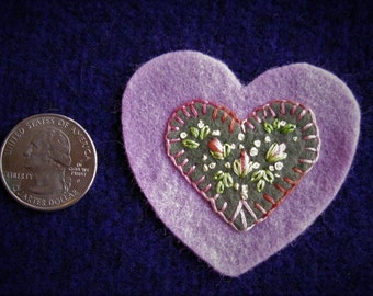 Embroidered floral wool felt heart ornament/pin - lavender, sage green with pink flower buds