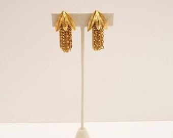 Vintage Brushed Gold Dangling Tassel Earrings 1.5 Inch Delicate  Gold Chain Drop Earrings