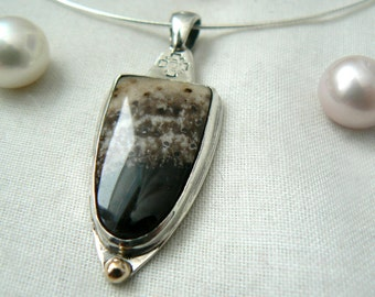 Sterling silver Petrified Palmwood and a dot of yellow gold - Pendant with chain - jewelry necklace