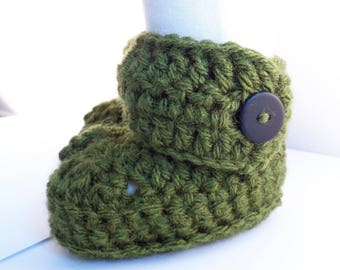 Custom Buttoned Crochet Booties in Olive