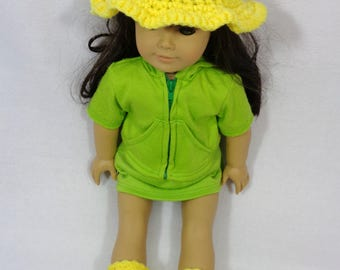 18 Inch Doll Rain Bonnet and Booties, Bright Yellow Crochet Sun Hat and Boots for American Girl, Summer Cap for Doll, Gift for Little Girl