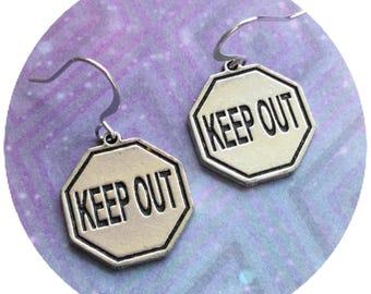 Keep Out earrings, grunge fashion