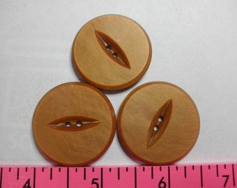 3 LARGE Orange Buttons - Casein - 1-1/4 each - Great for purse closure or accent