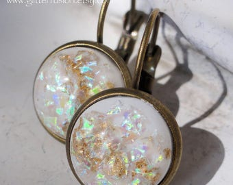 White Opalescent Gold Leaf Lever Back Earrings, 12mm Faux White Opal Statement Earrings, GlitterFusion Unique Spring Fashion Dangle Earrings