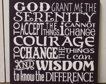 Serenity Prayer Sign/Inspirational/Subway Style/Courage/Wisdom/Purple/Plum/Eggplant/Wood Sign