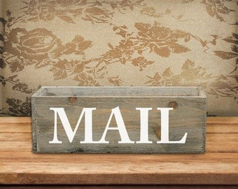 Mail Box/Indoor/Wood Box/Rustic/Stained Wood/Mail Holder/Mail Caddy