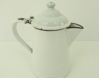 SALE..Enamelware Coffee Pot, Vintage Coffee Pot, Coffee Kettle,White Enamelware