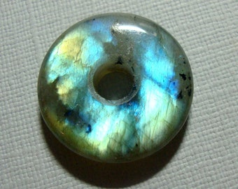 25mm, Labradorite, Gorgeous Firey Blue Gold Green Flashy Labradorite Smooth Donut PENDANT, D9