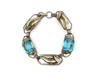Vintage Aqua Glass 10K Gold Plated Bracelet - Vintage Bracelet, 1940s Jewelry, Antique Jewelry