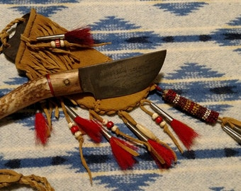Native American Inspired Neck Knife in Decorated Brain Tanned Sheath