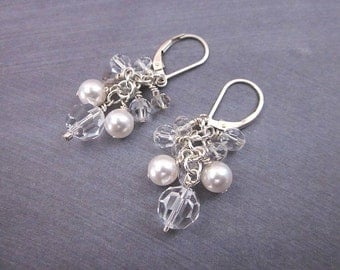 White Cluster Earrings -- White & Clear Earrings -- Clear Crystal and Pearl Earrings -- Clear Swarovski Pearl Earrings -- Lever Back Dangles