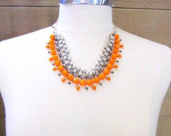 Orange Fall Necklace -- Large Orange Necklace -- Bright Orange Necklace -- Orange Grey Necklace -- Multi Strand Orange Bead Necklace --Pearl