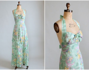 Vintage 1970s Floral Cotton Halter Maxi Dress
