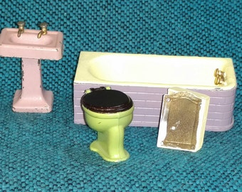Tootsie Toy Doll House Furniture, Bathroom, four pieces, Mixed Colors, Half Inch Scale  NL