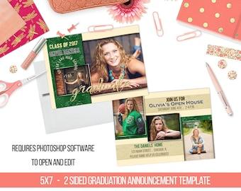 INSTANT DOWNLOAD Textured Foil Senior Graduation Announcement Templates/PSD files