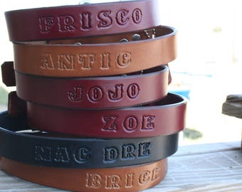 "Personalized Custom Leather Small Dog Collar - 3/4"" wide - Free Stamped Name"