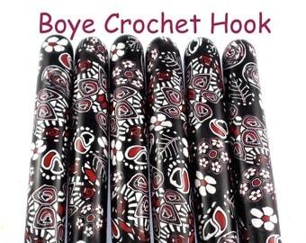 Crochet Hook, Boye Polymer Clay Covered Crochet Hooks, Custom Crochet Needle, Black and White Paisley Design