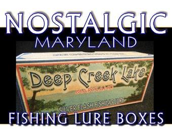 Deep Creek Lake Maryland fishing lure boxes make great nostalgic lake house decorations