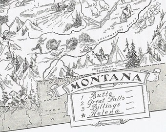MONTANA MAP Vintage, Charming, Whimsical, Adorable, Beautifully Illustrated, Perfect for Framing, Billings, Butte, Great Falls, Dude Ranch