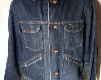 LJ155 Mens Vintage 80s Rustler Brand Usa made Button Up Faded Blue 4-Pocket Classic Denim Jacket sz L