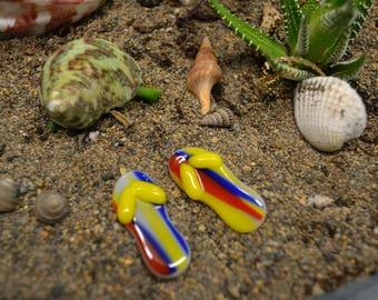 Miniature Fused Glass Flip Flops, Fairy Garden, Dish Garden Decor, Beach Decor, Fairy Accessories, Garden Miniatures, Blue, Yellow, Orange