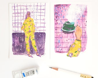 A set of Two Purple Postcards. Woman and coffee