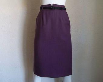 Vintage 70s College Town High Waist Midi DACRON Polyester Skirt S