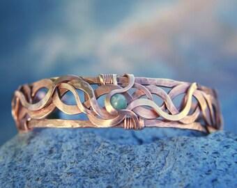 SALE Copper bracelet,  hammered copper cuff, ooak, handmade-valentines gift- stone, artisan-Statement-unique gifts, Lemurian Diamond, Bibi