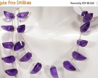 ON SALE Amethyst Step-Faceted Briolettes Beads Horn Beads Talons Claws Daggers Okra Beads Earth Mined Gemstone - 6 Beads - 13x8 to 16x9mm