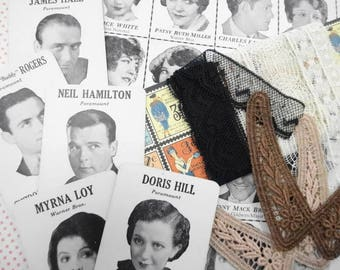 Movie Land Keeno Art Deco Game Board Cards Vintage Antique Movie Stars Photograph Lot Lace Trims DIY Project Inspiration Collection