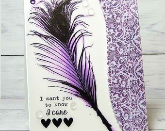 Feather I Care Inspirational Handmade Card