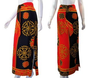 Vintage 70s Graphic Print Maxi Skirt Whimsical Hostess Skirt B. Altman Medium