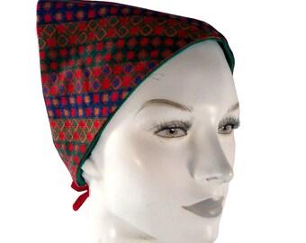 Vintage 70's Bright Graphic Checks Corduroy Head Scarf Kerchief, Reversible Green Headkerchief