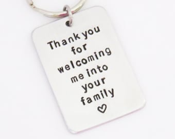 Father-in-law gift Mother-in-law gift - Thank you for welcoming me into your family keychain keyring - Gift for in-laws