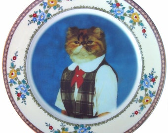 Heather, School Portrait - Altered Vintage Plate  10""