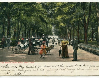 The Mall Central Park People New York City NY 1907 postcard