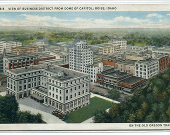 Business District Panorama Boise Idaho 1936 postcard