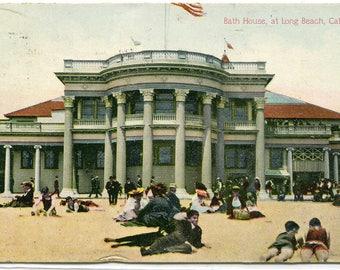 Bath House Beach Scene Long Beach California 1912 postcard