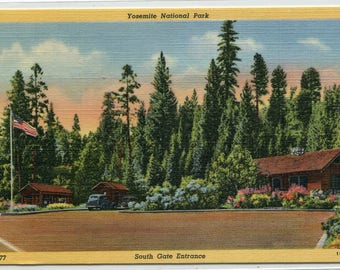 South Gate Entrance Yosemite National Park California linen postcard