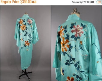 SALE - 1930s Vintage Silk Kimono Robe / 30s Embroidered Satin Dressing Gown / Birds Floral Embroidery / Wedding Lingerie Loungewear / Aqua B