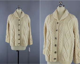 Cream wool cardigan | Etsy