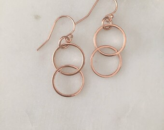 Rose Gold Circle Earrings- Handmade - 14k Rose Gold Filled