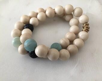 Jasper Bracelet Set - Handmade - Essential Oil Bracelets