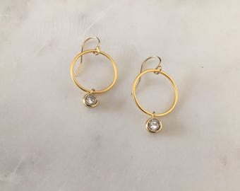 Modern Gold Circle Earrings - 14K Gold Filled