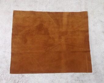ML942.  Chestnut Nubuk Leather Cowhide Remnant
