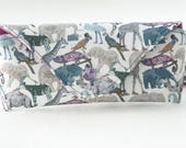 NEW Glasses case/ Eyeglass case/ sunglasses case/ reading glasses case/Liberty fabric/Queue for the zoo/blue grey purple