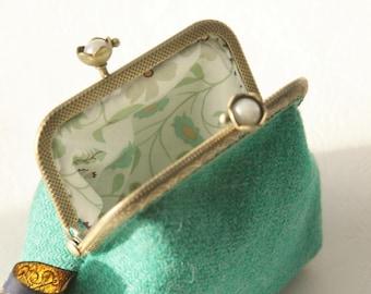 Bronze metal frame coin purse/white pearls / Seagreen Harris tweed/ Liberty tana lawn