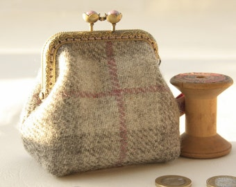 RESERVED! Bronze metal frame coin purse/purple pearls / Grey and pink check Harris tweed/ Liberty tana lawn