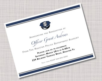 Custom Police Academy Graduation Party Invitations Announcements